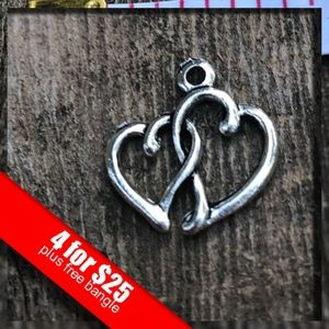 ❤️4 for $25❤️Silver Hugging Hearts Charm NWOT